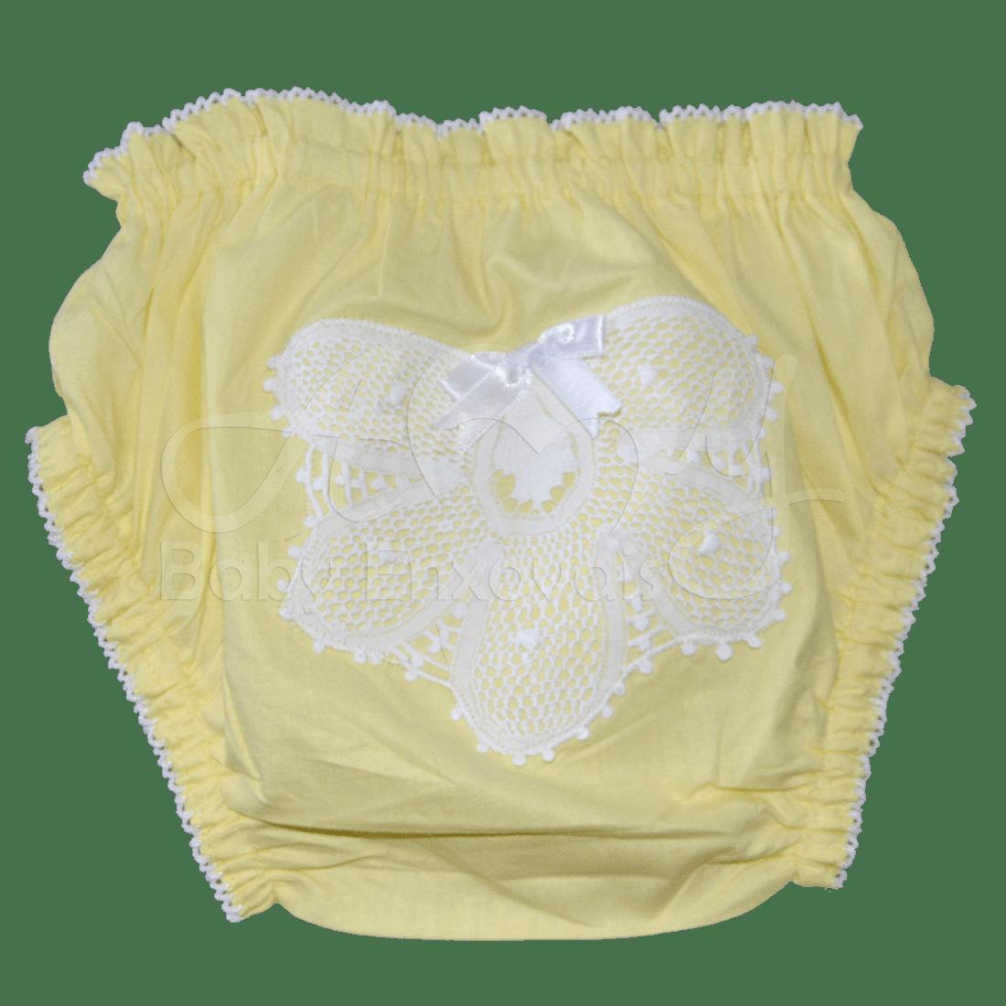 Calcinha cor amarela em renda renascença  - P e  G