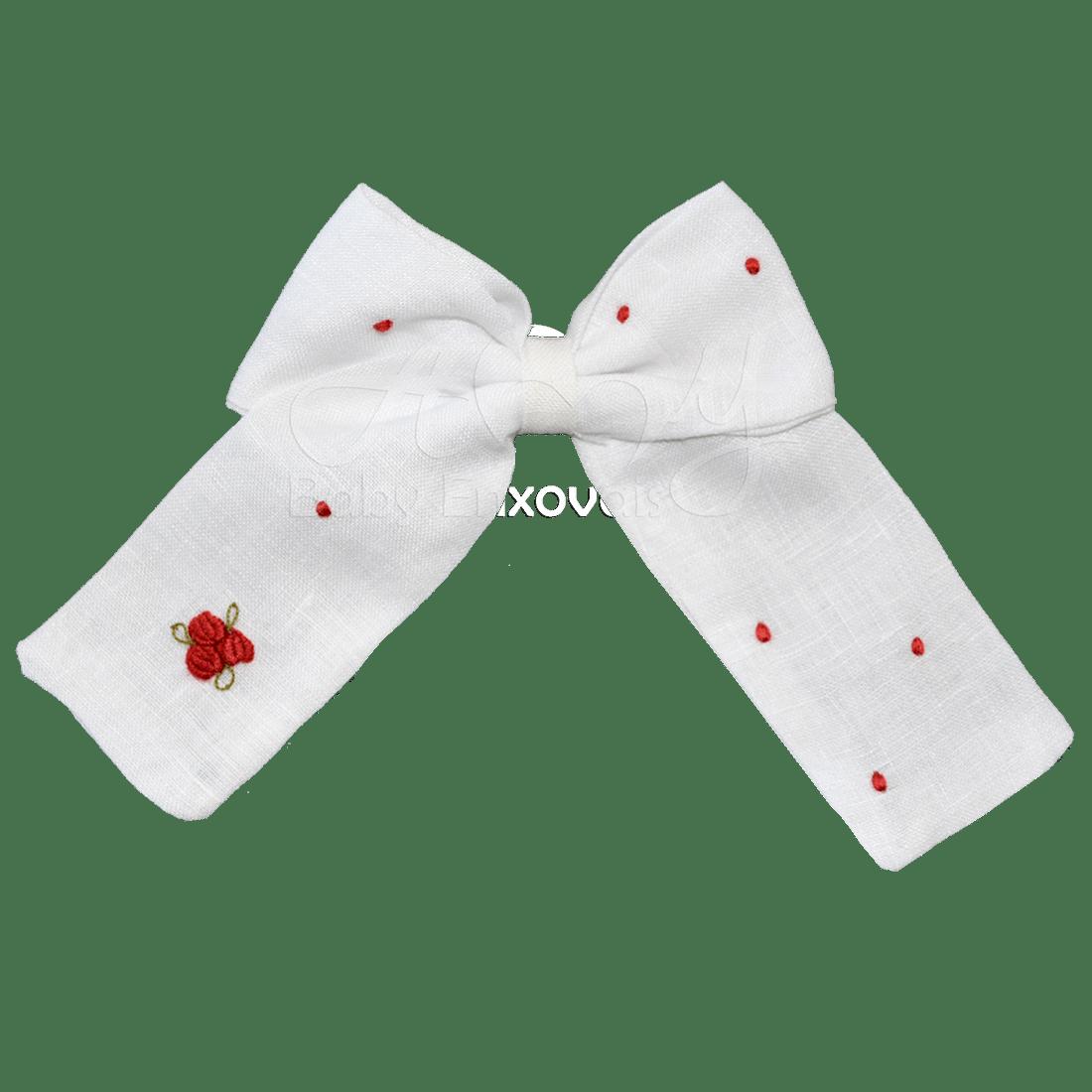 Laço bico de pato em linho branco bordado rococó vermelho - M e G