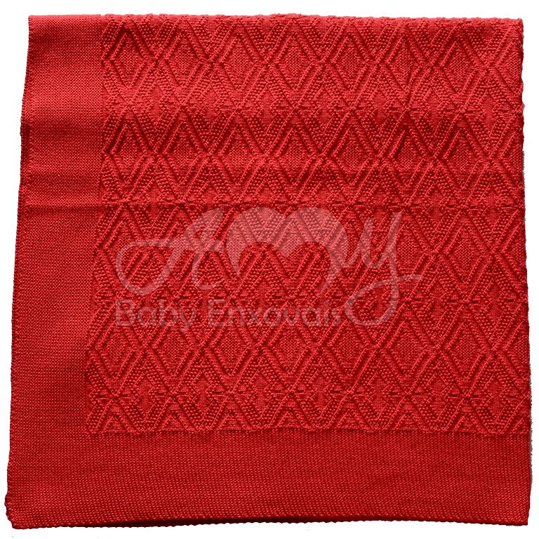Manta tricô vermelha losango
