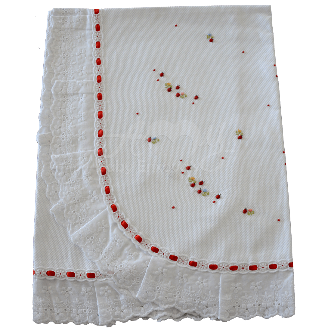 Manta bordado manual joaninha