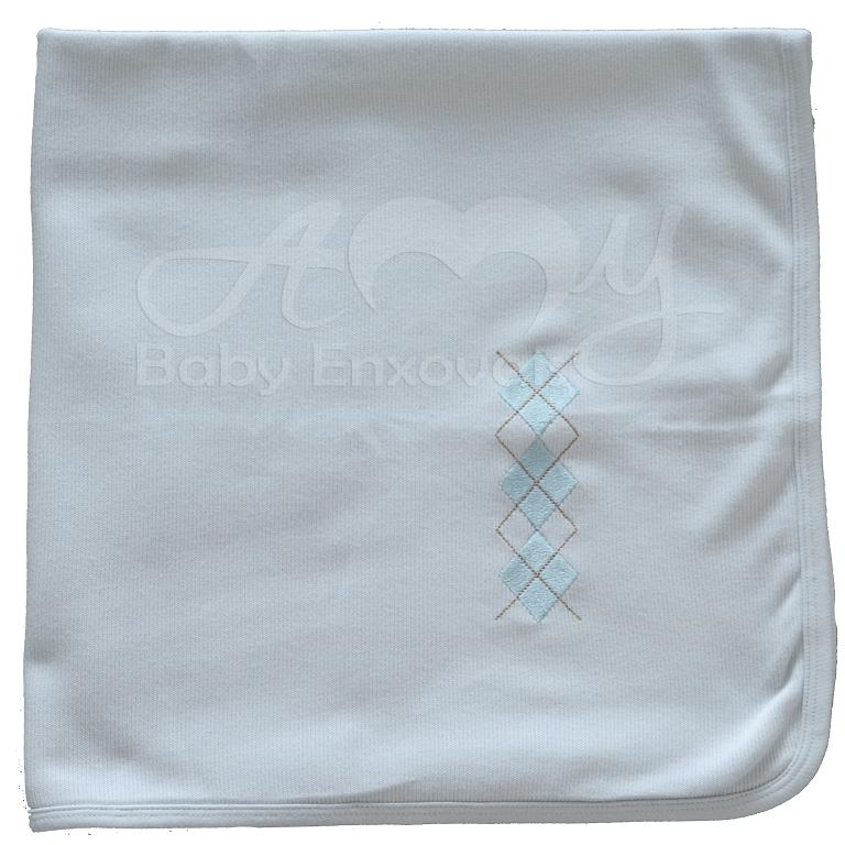 Manta em malha tricotada azul losango