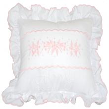 Almofada decorativa branca com bordado manual rosa