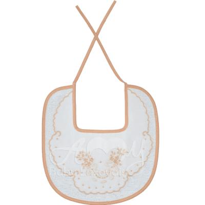 Babador bordado mini floral bege