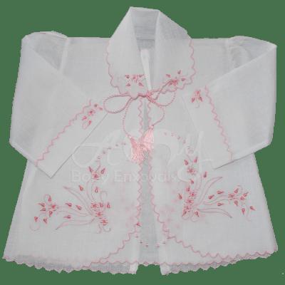 Conjunto pagão bordado mini rosinhas rosa  4 peças