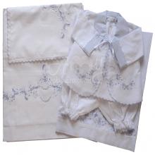Lençol berço bordado com conjunto pagão azul - 6 peças