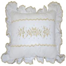 Almofada decorativa branca com bordado manual bege