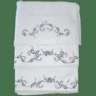 Kit presente bordado floral azul marinho - 3 peças