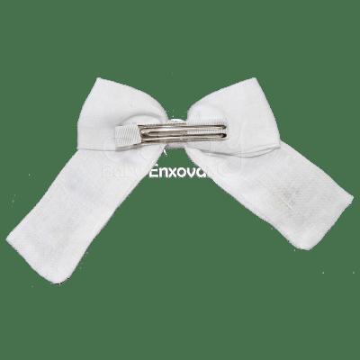 Laço bico de pato em linho branco bordado rococó coloré - M e G