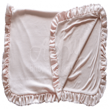 Manta bebê malha tricotada rosa pompom