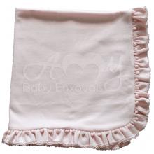 Manta bebê malha tricota rosa pompom
