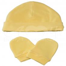 Touca e luvinha em malha de algodão amarelo