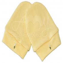 Touca e luvinha em malha de algodão bordado amarelo