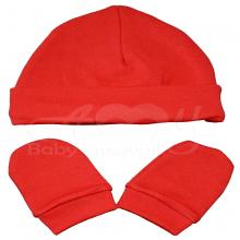 Touca e luvinha em malha de algodão vermelha