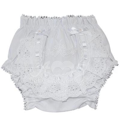 Calcinha bordado manual branco floral