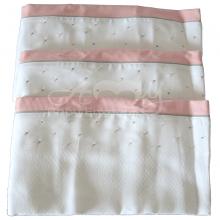Fralda bordada poá rosa e cinza - 3 unid.