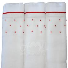 Fralda bordada poá vermelho - 3 unidades