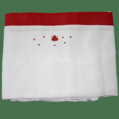 Fralda bordada rococó vermelha (3 unid.)