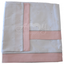 Jogo de berço bordado poá rosa e cinza - 3 peças