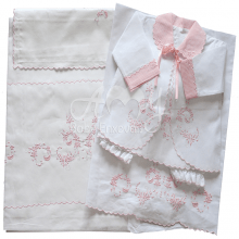 Lençol berço bordado com conjunto pagão floral rosa - 6 peças