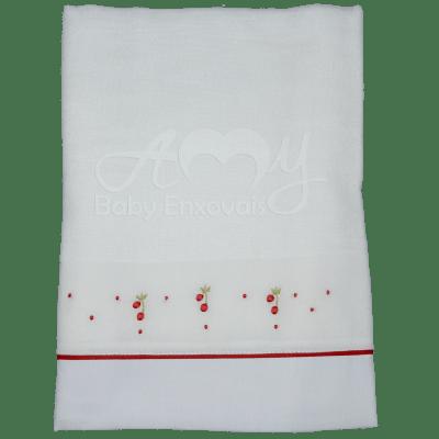 Toalha fralda bordada cerejinha