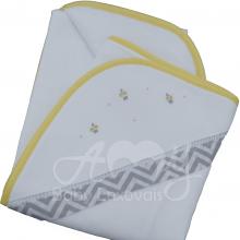 Enxoval bordado chevron floral- 5 peças