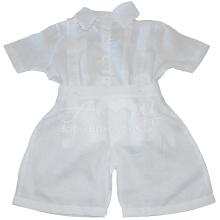 Conjunto em linho branco camiseta e bermuda em renda renascença - 04 meses ; 1 ano e 2 anos