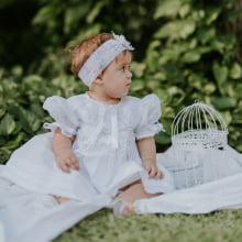 Vestido renda renascença infantil branco  - RN ( 0 á 3 meses ), 06 meses e  1 ano