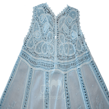Vestido renda renascença infantil nesga fina azul - 1 ano