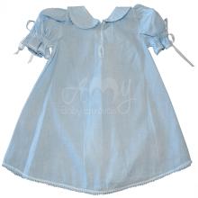 Vestido renda renascença infantil petala azul - 06 meses