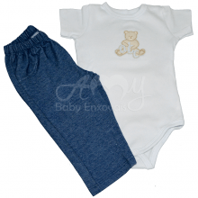 Conjunto body com calça abc do urso - M