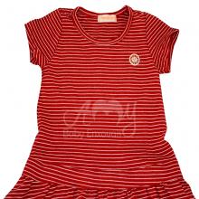 Vestido em malha listra vermelha - 1 ano