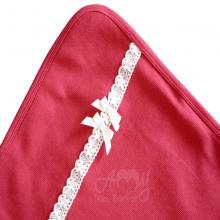 Manta em malha tricotada vermelha lacinho