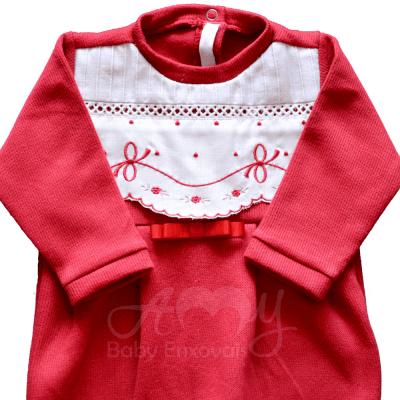 Saída de maternidade laço floral vermelho- P
