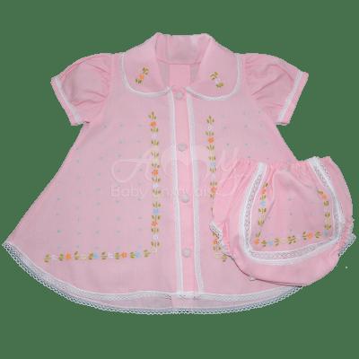 Vestido rosa bordado á mão floral  - 06 meses