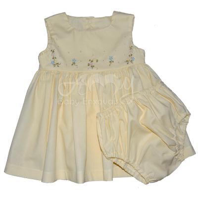 Vestido amarelo bordado rosinhas com calcinha - 06 meses