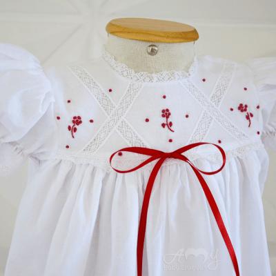 Vestido bordado á mão floral vermelho rebeca - 1 ano