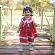 Vestido infantil renda renascença poá vermelho  - 9 meses; 1 ano e 2 anos
