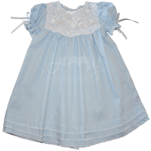Vestido renda renascença infantil poá azul - 1 ano