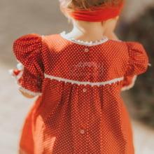 Vestido renda renascença infantil poá vermelho - 1 ano e 2 anos.