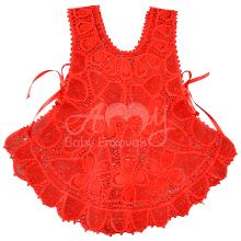 Vestido avental renda renascença vermelho - 1 ano