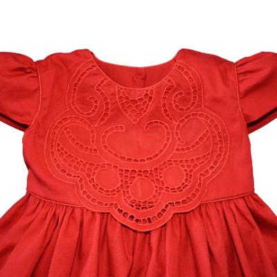 Vestido bordado richelieu vermelho - 1 ano