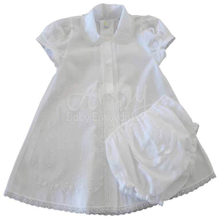 Vestido bordado á mão floral  branco - 06 á 12 meses